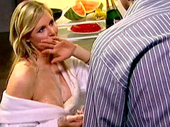 Busty celebrity Abi Titmuss sparkles nipples