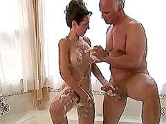 Nude Amy Fisher shows pussy and jerk dick in bath