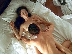 Nude Angelina Jolie with nude guy in bed