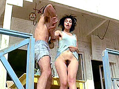 Nude Beatrice Dalle with naked guy in..