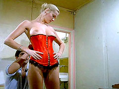 Busty Brigitte Lahaie shows hairy pussy