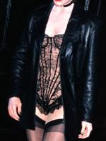 Brooke Shields posing in black..