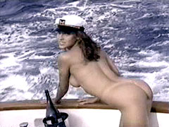 Fully naked Cady Cantrell exposes wet pussy on yacht