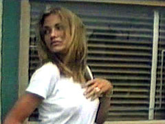 Sexy blonde Cameron Diaz in transparent tanktop
