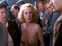 Carice van Houten being forced to strip in a group of people