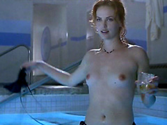 Charlize Theron stripping and having sex with guy in swinning pool