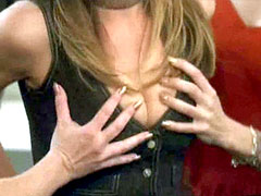 Actress Christina Applegate shows her..
