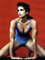 Model Cindy Crawford posing in a..