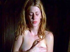 Diora Baird first showing us her huge cleavage then we see her topless showing us her nipple for a..