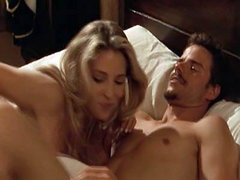 Elsa Pataky nude in one scene making out with some guy on the bed. Then we see her great cleavage..