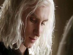 Emilia Clarke having a guy lower her..