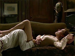 Kate Winslet oral pleasures by man, while she was lying on the couch, we can only see her pokey..