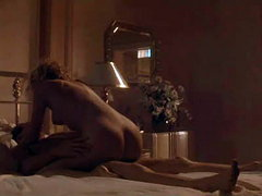 Sharon Stone lying naked on her back..