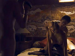 Sian Breckin and Jaime Winstone both naked and have sex with their respective guys as another guy..
