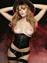 Imported Keeley Hazell posing say no to juicy round tits