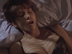 Halle Berry Wearing Black Lace Bra In..