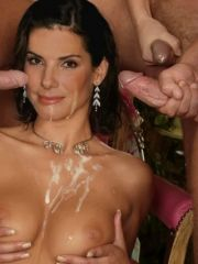 Sandra Bullock showered with jizz after..