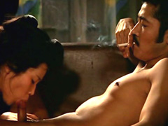 Eiko Matsuda naked gives hot blowjob to smoking guy