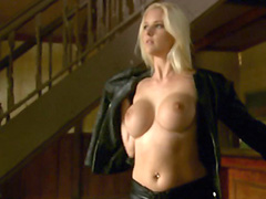 Hannah Harper topless in black leather..