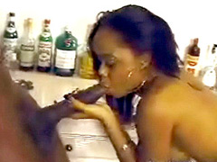 Black celebrity Jaimee Foxworth plays with huge dick