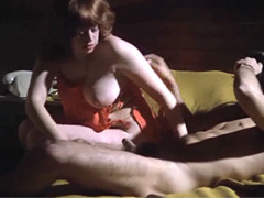 Lina Romay giving us good view between her legs while she gives blowjob