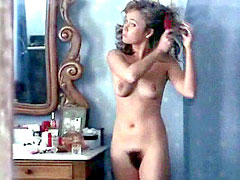 Young Lysette Anthony fully naked exposes hairy pussy