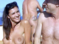 Tanned Magali Muxart fully naked..