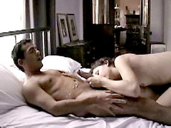 Fully naked Margot Stilley jerks and jumps on dick