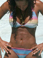 Celebrity Melanie Brown in white bikini..