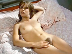 Celebrity Monique Van De Ven fully nude laying on a bed