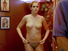 Amanda Righetti displays her hot hooters and round ass in the bedroom