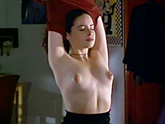Holly Marie Combs shows tits while giving a blowjob