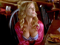 Julie Benz displays her bouncing boobs while riding some guy in bed