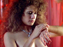 Nancy Travis smokes while showing breasts, bush, and butt