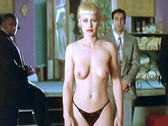 Nude Patricia Arquette in small black panties, undresses