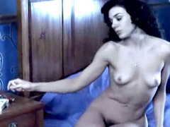 Fully nude Patricia Llaca exposes tits and hairy pussy