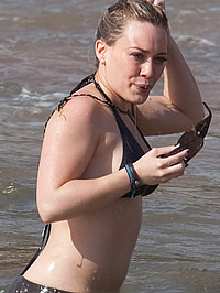 Hilary Duff paparazzi bikini beach shots