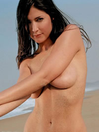 Sexy Lisa Snowdon holding her naked boobs
