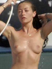 Rebecca Gayheart topless beach tanning..