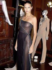 Adriana Lima big boobs in see thru dress