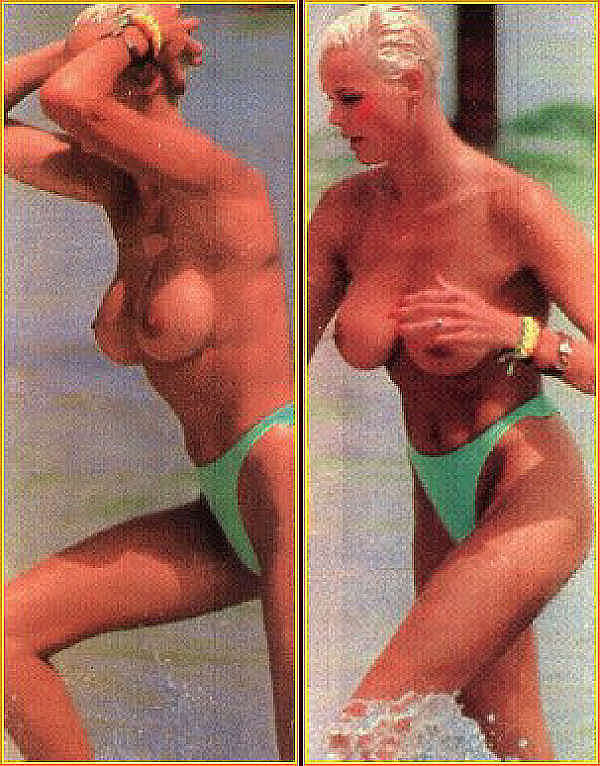 Brigitte Nielsen nude sunbathing on the beach. .