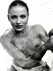 Cameron Diaz bends over and flashes..