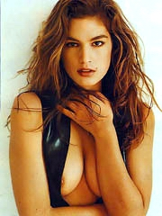 Cindy Crawford hot body in a black bikini