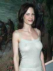 Hilary Swank big boobs in see through top