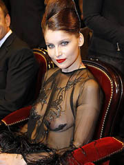 Laetitia Casta topless in see through..