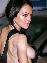 Lindsay Lohan sideboob and boob slip
