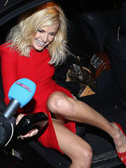 Malin Akerman upskirt in hot red dress