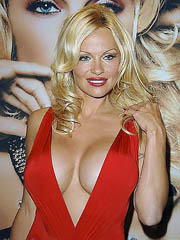 Pamela Anderson cleavage in hot red dress