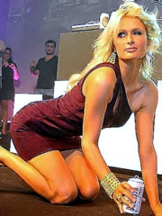 Paris Hilton flashes thong in see thru..