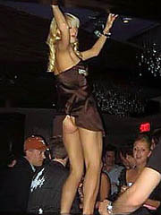 Paris Hilton pussy upskirt and nip slip